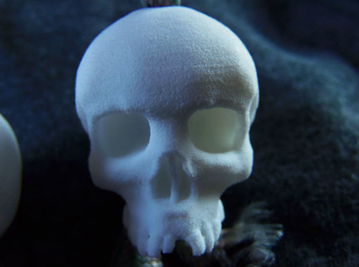 Mini Skull Keychain Charm 3d printed front, white strong flex