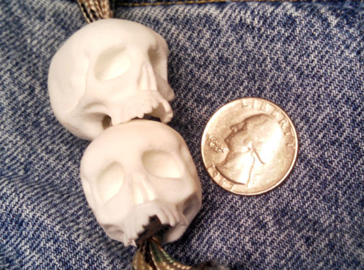 Mini Skull Keychain Charm 3d printed stacked, white strong flex