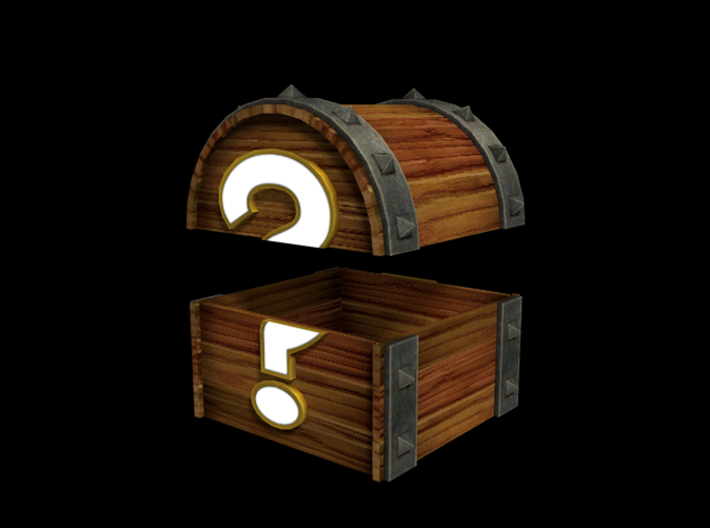 Mystery Chest (Color, Large) 3d printed Fancy render of the model.