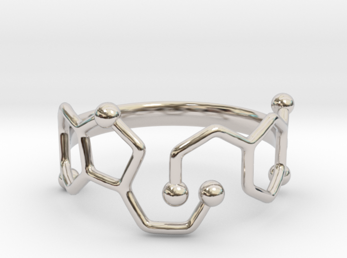 Dopamine & Serotonin Molecule Ring - Size 8 3d printed