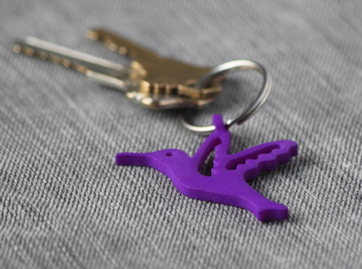 Hummingbird Pendant 3d printed Purple strong and flexible. Ring and keys not included.