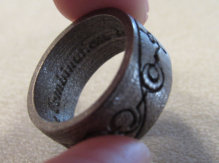 """IDIC"" Vulcan Script Ring - Engraved Style 3d printed Pictured: Polished Nickel Steel"