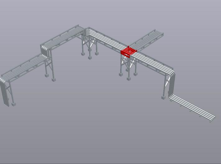 N Pipe Rack T Junction 2pc 3d printed Example of modular pipe rack, T-junction shown in red