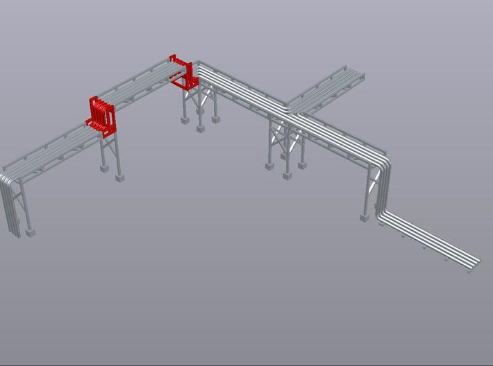 N Pipe Rack Riser 10mm 2pc 3d printed Example of modular pipe rack, 10mm risers shown in red