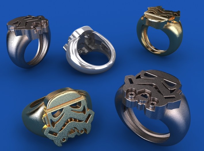 Storm Trooper Ring 3d printed