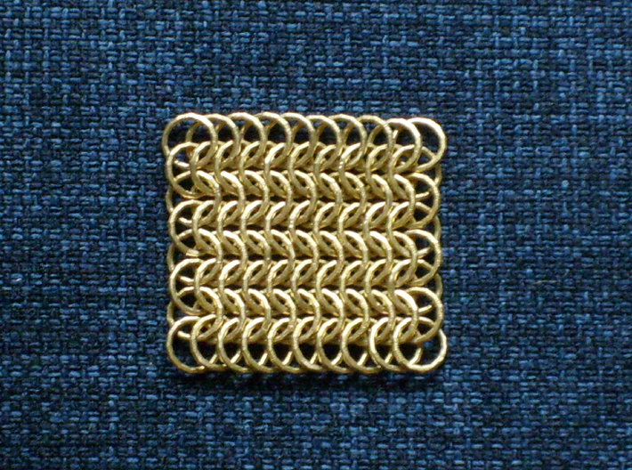 Chainmail6-80 3d printed bronze model (supports removed)