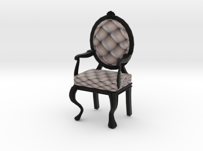 1:12 One Inch Scale SilverBlack Louis XVI Chair 3d printed
