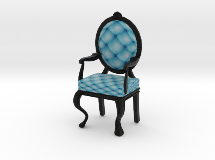 1:24 Half Inch Scale SkyBlack Louis XVI Chair 3d printed