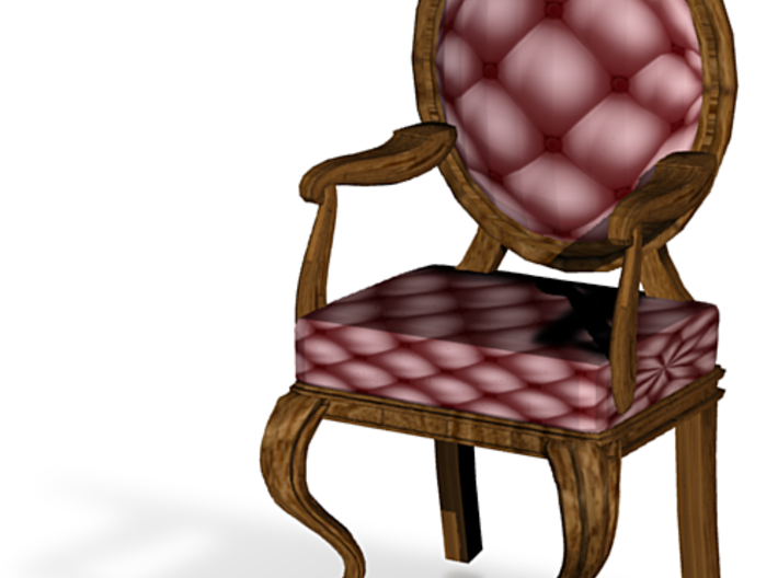 1:48 Quarter Scale MaroonDark Oak Louis XVI Chair 3d printed
