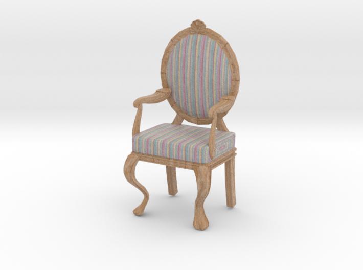 1:12 Scale Pastel Striped/Pale Oak Louis XVI Chair 3d printed