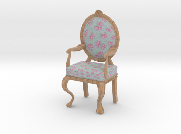 1:12 Scale Blue Chintz/Pale Oak Louis XVI Chair 3d printed
