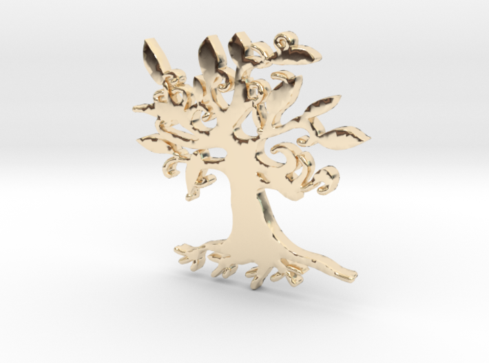 Swirly Tree Necklace Pendant 3d printed