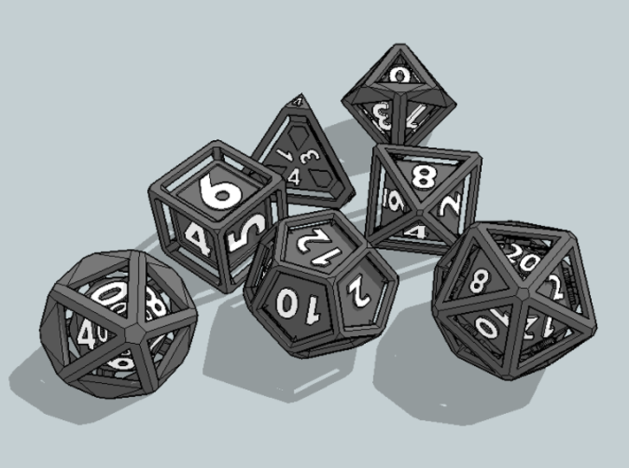 Rollcage Dice 7-Piece Set With Percentile Dice 3d printed
