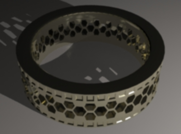 Ring With Hexagonal Holes 3d printed Gold material