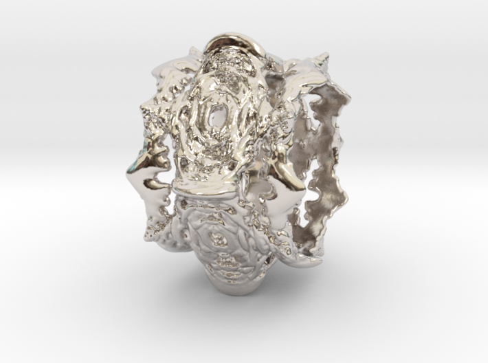 Intestines of Complex Numbers - Ten Spined Ring - 3d printed