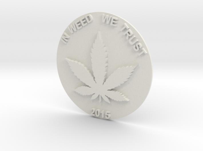 Marijuana Coin 3d printed