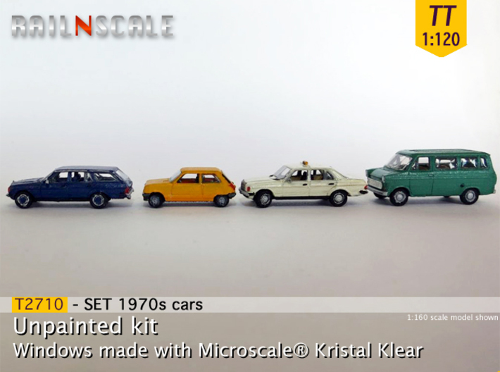 4x 1970s cars (SET B - TT 1:120) 3d printed