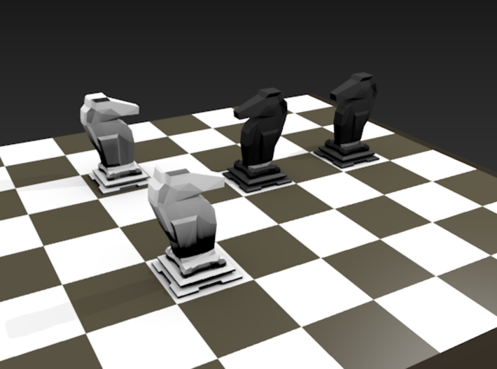 Knight - Mini Chess Piece 3d printed Chessboard not included. Multiple pieces shown for different colors.