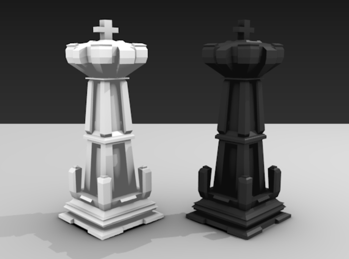 King - Mini Chess Piece 3d printed Two pieces shown for different colors.