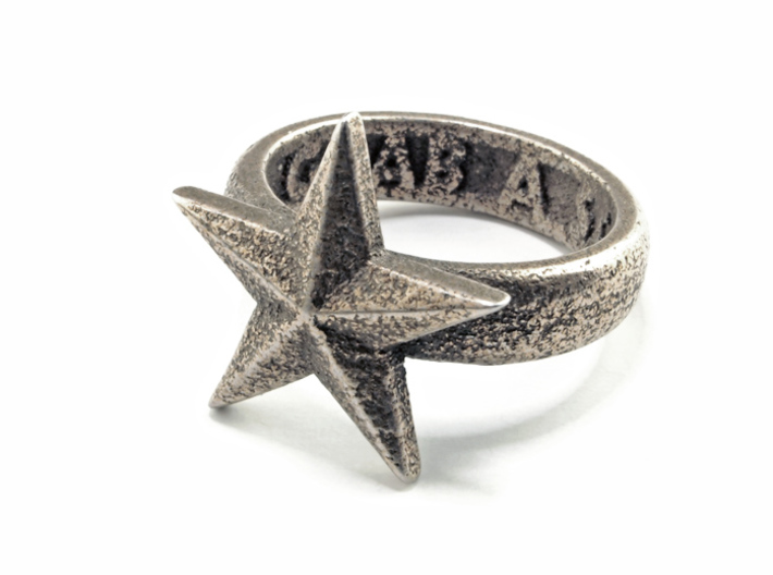 Star Ring (various sizes) 3d printed Stainless Steel