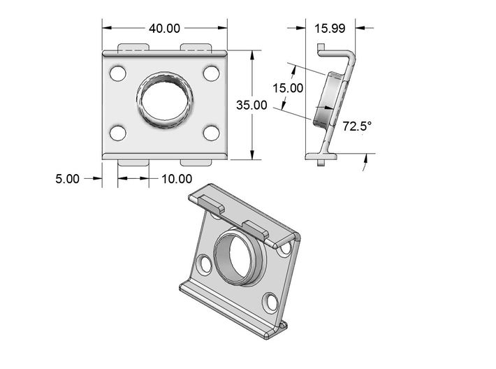 BSE 17.5° Cam Mount 600 TVL for EMAX Nighthawk fra 3d printed dimensions