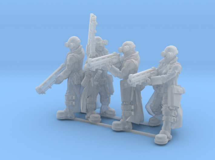Female Stealth Gang with Revolver Rifles 3d printed