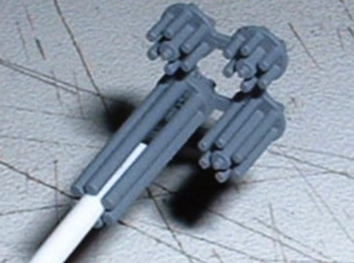 M134 Minigun Barrel Cluster 1/24 Scale. 3d printed Actual printed item with couple applications of grey primer. White rod just for support.