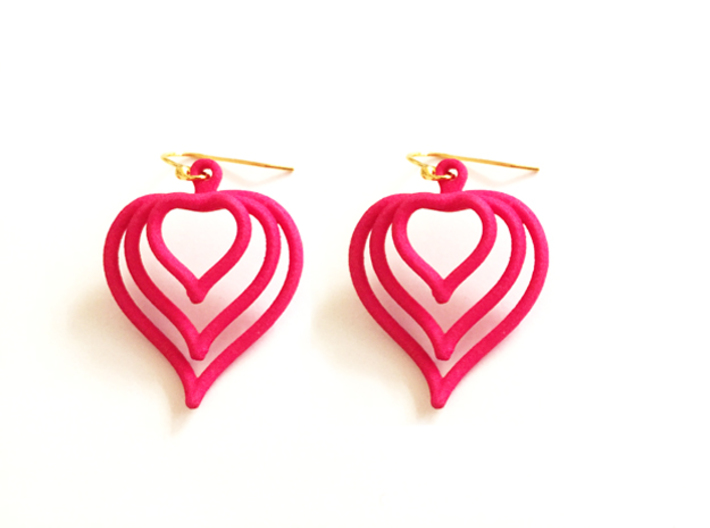 3D Printed Wired Love Yourself Heart Earrings 3d printed