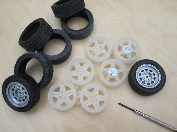 CATERHAM Tire Rear x1 Black Acrylic 1-12  3d printed Wheels & Tires to replace Tamiya parts.