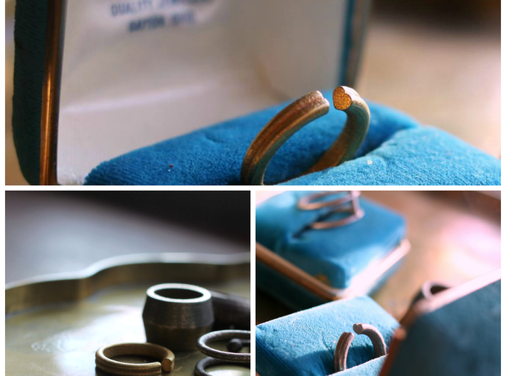 Open Heart Ring 3d printed Shown in stainless steel and matte gold-plated stainless.