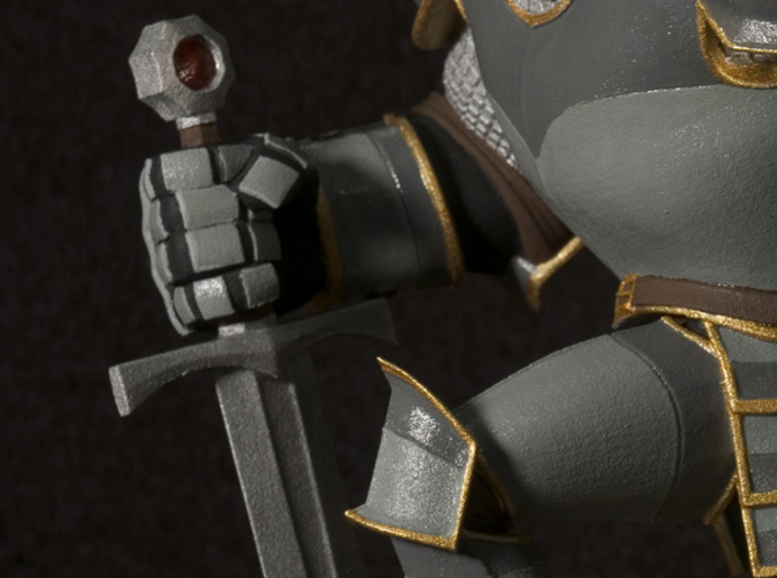 TheKnight (Large) 3d printed Closeup; This is the result after sanding the base and hand painting it with Revell Aqua Paints. Not available as a painted piece.