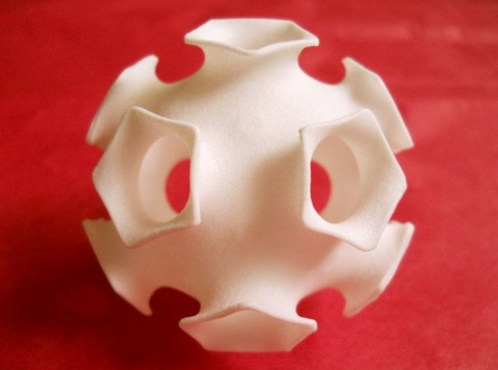 Icosahedral minimal surface 2 (solid, 2 in) 3d printed Desktop-sized minimal surface math sculpture with organic, floral design and lots of symmetry