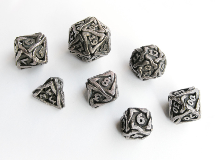 'Twined' Dice Gaming Die Set +10D10/Decader 7 dice 3d printed