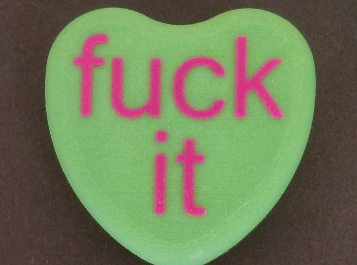 """Candy Heart """"fuck it"""" - Green/Pink 3d printed Front"""
