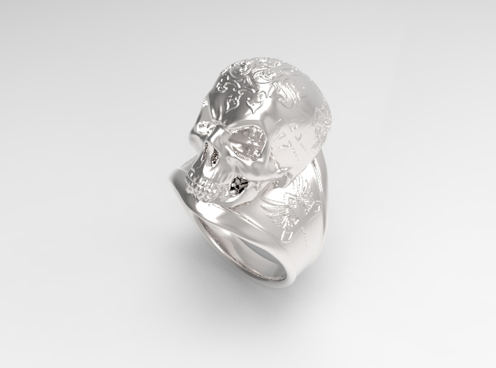 Silver Skull Ring Engraved Size 12 3d printed Silver polished