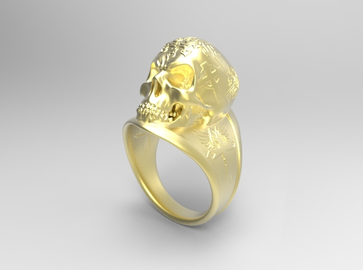 Silver Skull Ring Engraved Size 12 3d printed Brass rough