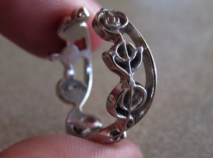 """IDIC"" Vulcan Script Ring - Cut Style 3d printed Pictured: Rhodium Plated"