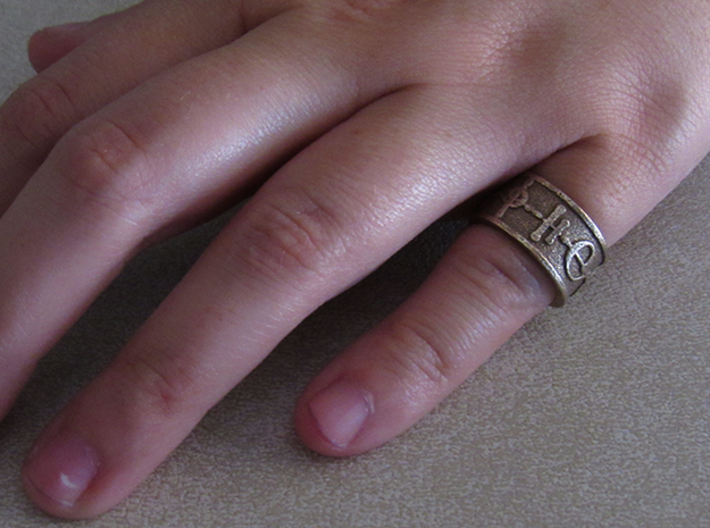 """Kaiidth"" Vulcan Script Ring - Embossed Style 3d printed Pictured: Stainless Steel"
