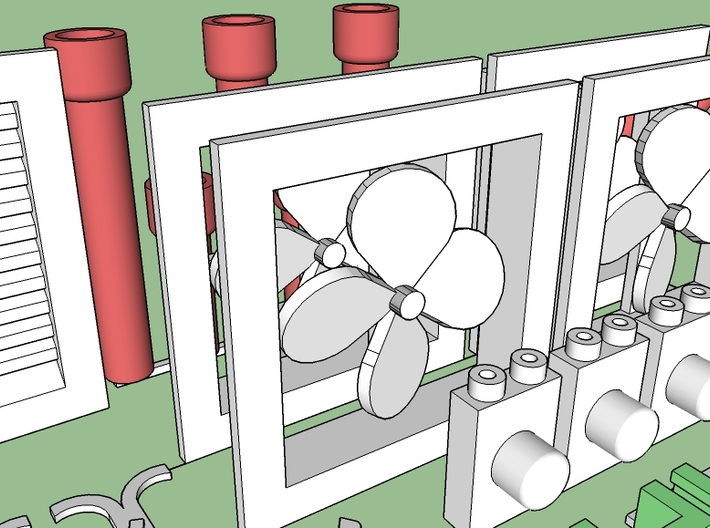 Structure Exterior Wall Details #1 3d printed Wall mount fans