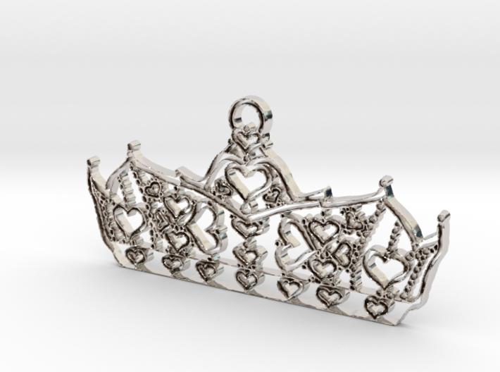 Queen of Hearts crown tiara charm or pendant 2mm t 3d printed