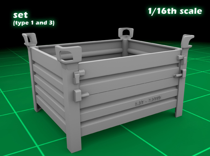 Stackable container set (type 1&3 - 1/16) 3d printed