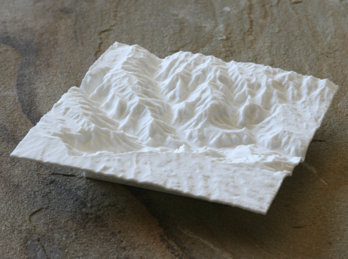 "4'' Waimea Canyon Terrain, Hawaii, USA 3d printed Photo of 4"" model, looking East into the canyons"