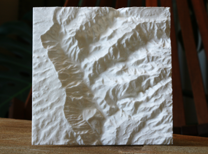 "4'' Waimea Canyon Terrain, Hawaii, USA 3d printed Overhead view of 4"" model, showing the deep, detailed canyons"