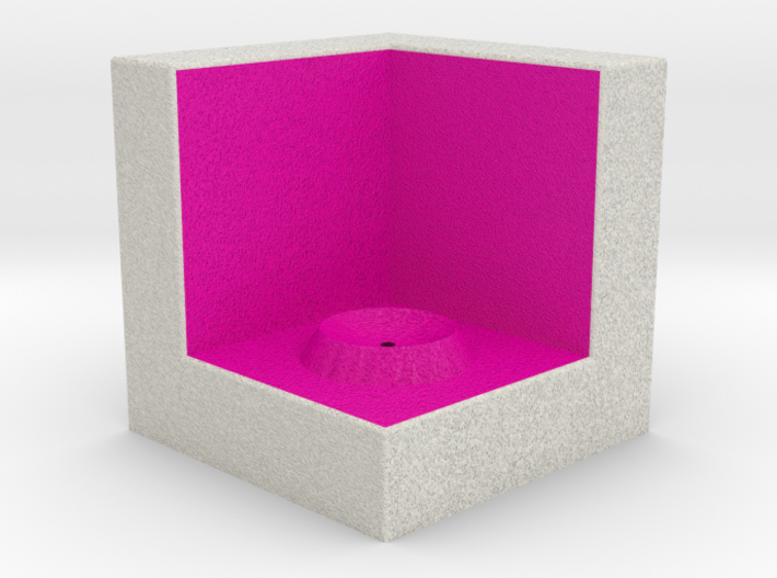 LuminOrb 2.6 - Cube Stand 3d printed Shapeways render of Cube Display Stand for ACCEPTANCE in Full Color Sandstone