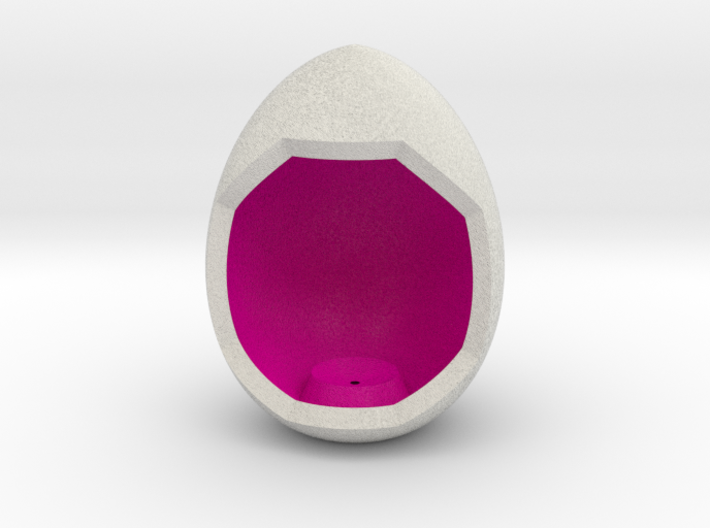 LuminOrb 2.6 - Egg Stand 3d printed Shapeways render of Egg Display Stand for ACCEPTANCE in Full Color Sandstone