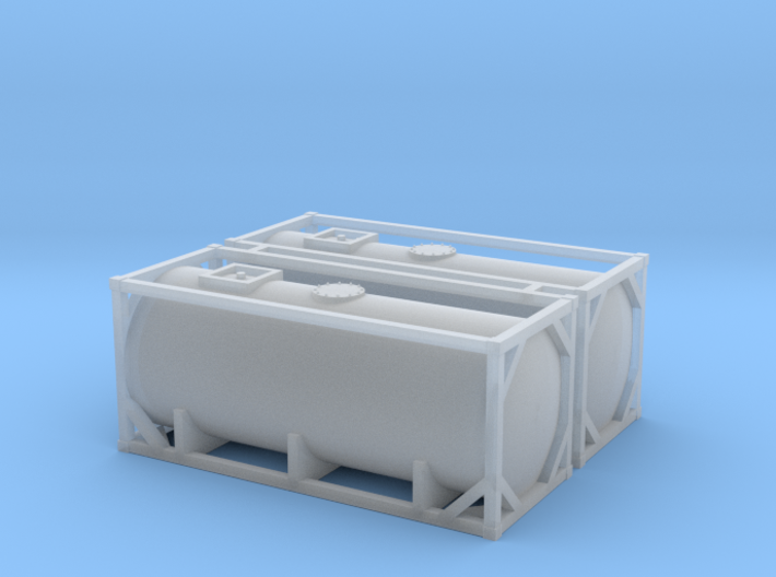 N Scale 20ft Tank Container (2pc) 3d printed
