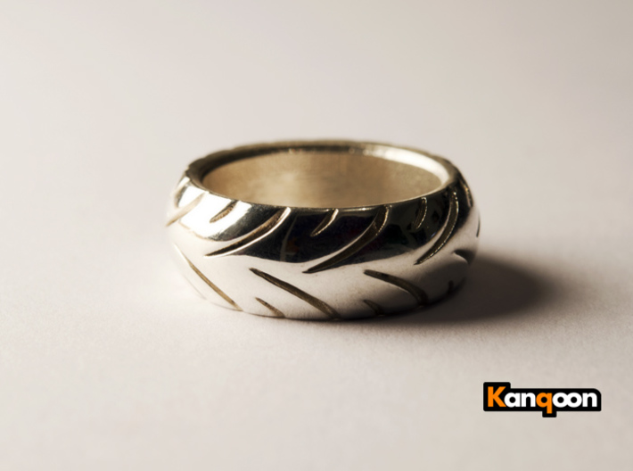 Ray Zing - Ring 3d printed Polished Silver printed in US 9.25