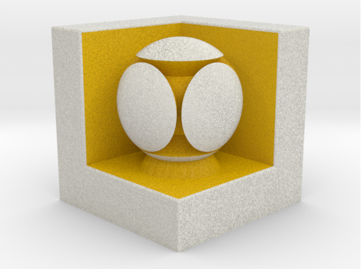 LuminOrb 2.4 - GENEROSITY 3d printed Shapeways render of GENEROSITY on a matching color Cube Display Stand (optional)
