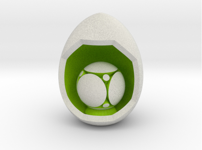 LuminOrb 1.2 - SELFLESSNESS 3d printed Shapeways render of SELFLESSNESS on a matching color Egg Display Stand (optional)
