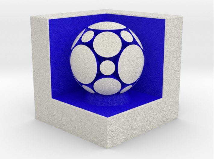 LuminOrb 1.3 - COMPASSION 3d printed Shapeways render of COMPASSION on a matching color Cube Display Stand (optional)